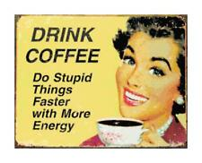 Drink Coffee Humorous Retro Sign DIGITAL Counted Cross-Stitch Pattern Chart
