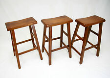"eHemco 29"" Saddle Seat Bar/Counter Stools in Dark Oak -Set of 3"