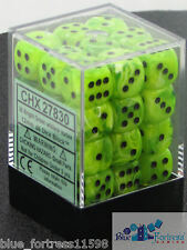 CHESSEX vortex 12mm SET OF 36 D6 BRIGHT GREEN WITH BLACK DICE FOR MTG POKEMON