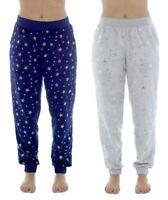 Womens Ladies Foxbury Fleece Cuff Lounge Pants, Pyjama Bottoms Foil Star Print
