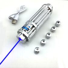 USB Charger BX3 1MW 450nm Visible Blue Laser Pointer Lazer Torch Pen & 5 Caps UK