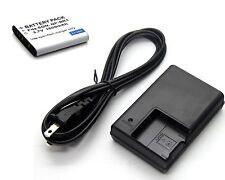 Battery + Charger for Sony Cyber-Shot DSC-W180 DSC-W190 DSC-W370 Digital Camera
