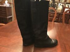 Joan & David Women's Black Leather Riding Boots Size 37.5 Us 6.5 Made In Italy