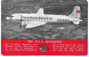 AUSTRALIAN NATIONAL AIRWAYS D.C 4 SKYMASTER ADVERTISING POSTCARD
