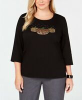 Karen Scott Women's Plus Jewel Pumpkin Embellished Deep Black Top SIZE 1X 2X 3X