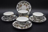(4) Richard Ginori Italian Silver Overlay Lillies Teacups & Saucers (5-68)