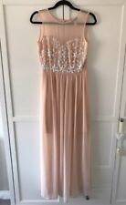 Lipsy Peach Maxi Dress Layer Nude Pale Pink White Embellishment Ball Wedding 10