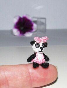 "Miniature Bear Ooak Artist Panda Teddy Bear Dollhouse Dolls Toy Animal Gift 0.8"""