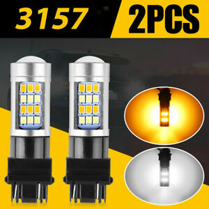 2* Dual Color White/Amber 3157 LED DRL Switchback Turn Signal Parking Light Bulb