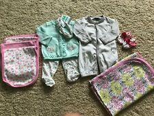 Baby Girl's CARTER'S Outfits + Mittens + Burp Cloths + Blanket Lot- Size Newborn