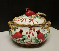 Vintage Cardinal Soup Tureen with Ladle Holiday Christmas Server  * See Add *