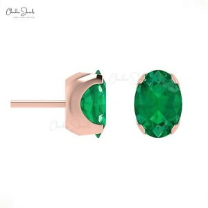 14K White Gold Emerald Earring May Birthstone Earring With 4 Prong Setting