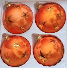 Orangefarbene Weihnachtskugeln mit goldenen Sterne aus Glas 4er Set Ø 8 cm