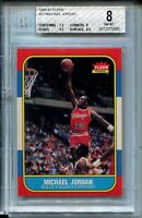 1986 '86 Fleer Basketball #57 Michael Jordan Rookie Card RC Graded BGS NM MINT 8
