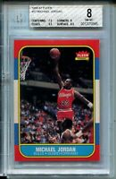 1986 '86 Fleer Basketball #57 Michael Jordan Rookie Card RC Graded BGS NM MINT 8