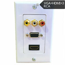 HDMI VGA 3RCA Composite AV Audio Video Wall Face Plate Panel Outlet Cover Mount
