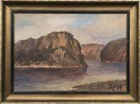 Fjord Landscape Norway Norge Norway - Hn Monogram Um 1920 35 X 47