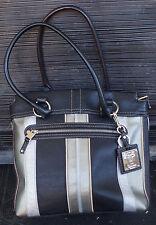 TIGNANELLO Black & Two Toned Silver Pebbled Leather Handbag Satchel Bag Purse