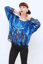 Vintage 80's Retro GLAM Blue FULLY BEADED SEQUIN Cocktail L/Sleeve Top AUS 12 M