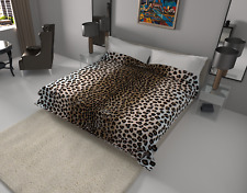 Solaron Blanket throw Thick Ultra Fine Polyester Mink Plush Leopard Heavy Weight
