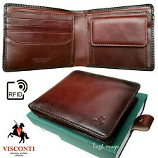 Quality Wallet Real Leather Burnish Tan Visconti RFID New in Gift Box AT60