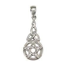Sterling Silver Dangling Pentacle Pentagram Pendant Celtic Knot Wicca SS Jewelry