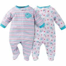 NEW GERBER Newborn Baby Girl Zipper Footie Pajamas Onesie 0-3 Mo. 2 pk