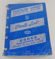 Catalogo Ricambi / Lista Dei Componenti Dodge D-31/D-32 Von 1949