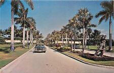 Miami Florida~Doral Country Club Drive~Bronze Diana~1960s Car~Postcard