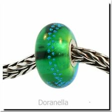 Authentic Trollbeads Glass 61356 Silver Trace, Green -Turquoise :1 RETIRED