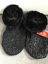 M&S FAUX FUR LINED BOOTIES IN BLACK & SILVER GLITTER & SLIP RESIST- UK 3-5 BNWT