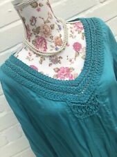 M&S Per Una Size 18 Top Blouse Green Blue Casual Summer Smock Tunic Floaty