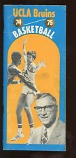 1974/1975 NCAA Basketball Media Guide UCLA With John Wooden Front Cover VGEX