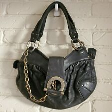 Bally Metallic Hardware Lambskin Black Leather Hobo Bag