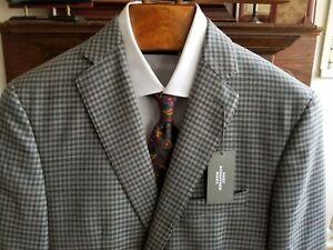 HART SCHAFFNER MARX 40 LONG L grey check sport coat coat $495