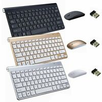 Wireless Bluetooth Keyboard 2.4G Ultra Slim Thin Design With Mini Light Mouse