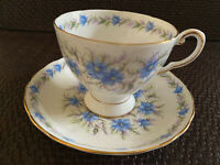 """Tuscan Vintage Bone China England """"Love In The Mist"""" Teacup & Saucer"""