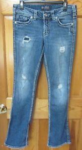 """Silver Jeans Suki 17"""" Bootcut Stretch Women's Jeans Sz 28/33 Distress"""