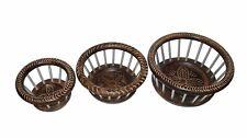 Wooden designer fruit basket set of 3 pieces home & kitchen decorative gift item