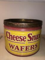 RARE 1930'S STRIETMANN'S PENNANT CHEESE SNAX WAFERS TIN LITHO ADVERTISING CAN