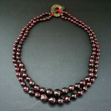 "M012911 19"" 2 Strands Round Faceted Graduated Garnet Necklace"