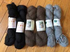 Lot of 6 skeins of 100% alpaca yarn, black, brown, and grey