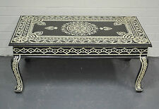 Timber Painted Bone Inlay Center Coffee Table Boho Indian Moroccan Antique