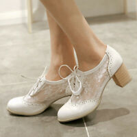 Women Girls Oxford Brogue Flats Block Heel Pointy Toe Lace Up Casual Pumps Shoes