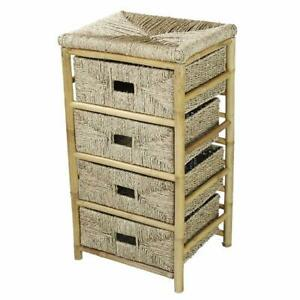 """18.5"""" X 15.25"""" X 32.5"""" Natural Bamboo Storage Cabinet with Baskets"""
