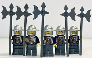 LEGO Kingdom Castle Blue Crown Knights 5x Minifigures Halberd Pole Axe Pikemen