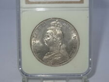 SLABBED NGC 1887 VICTORIAN VICTORIA SILVER CROWN COIN - MS62