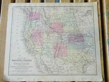 Nice colored map/Pacific States. Warren's 1884 pub. by Cowperthwait & Co.