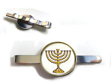 GOLD Hanukkah Menorah Con Stella di david ebraica BADGE TIE diapositiva TIE Grip TIE PIN