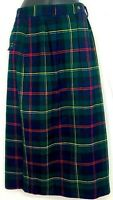 Vintage Ralph Lauren Womens Maxi Skirt Wool Plaid Long Pencil Pin Tucks Size 10